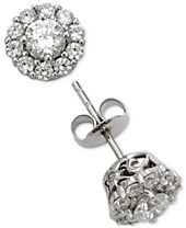 Marchesa Certified Diamond Cluster Stud Earrings (1 ct. t.w.) in 18k White Gold