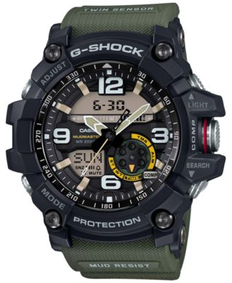 Image of G-Shock Men's Analog-Digital Mudmaster Army Green Resin Strap 56x55mm GG1000-1A3