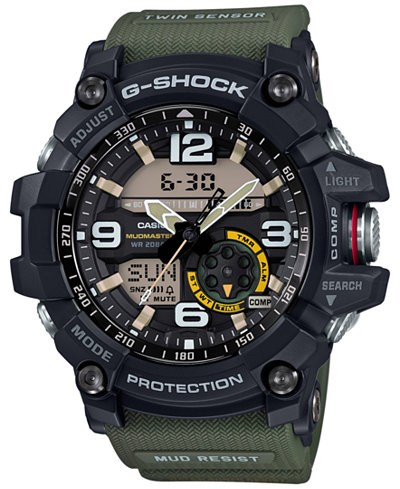G-Shock Men's Analog-Digital Mudmaster Army Green Resin Strap 56x55mm GG1000-1A3