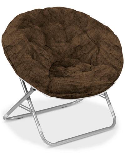 Arron Adult Faux Fur Saucer Chair, Quick Ship