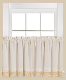"Saturday Knight Heritage Macramé Trim Pair of 29"" x 36"" Tier Curtains"