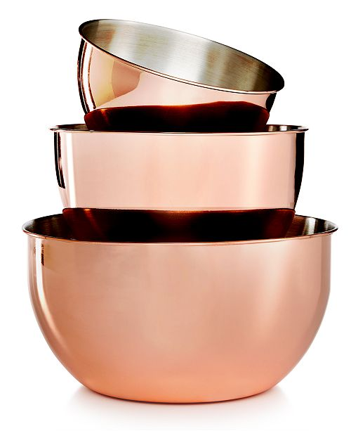Martha Stewart Collection 3-Pc. Copper-Plated Mixing Bowl Set ...