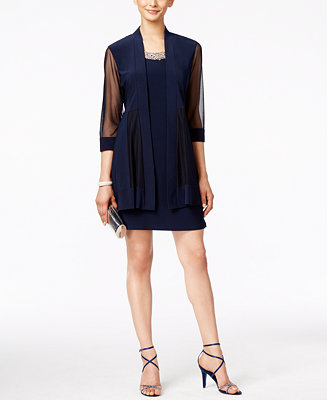 R Amp M Richards Embellished Dress And Illusion Duster