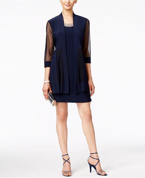 Embellished Dress and Illusion Duster Jacket