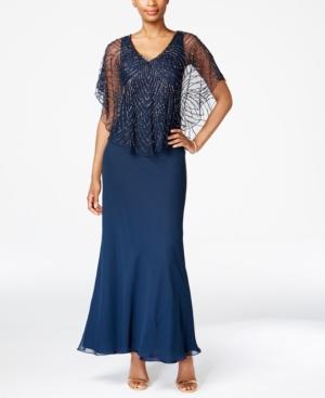 1930s Style Evening Dresses J Kara Beaded V-Neck Capelet Gown $149.99 AT vintagedancer.com