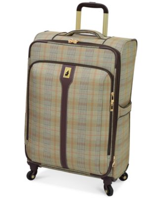 "Image of London Fog Knightsbridge 25"" Expandable Spinner Suitcase, Available in Brown and Grey Glen Plaid, Ma"