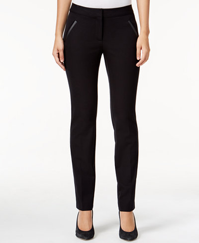 Alfani Petite Faux-Leather-Detail Pants, Created for Macy's