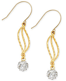 Cubic Zirconia Fireball Drop Earrings in 10k Gold