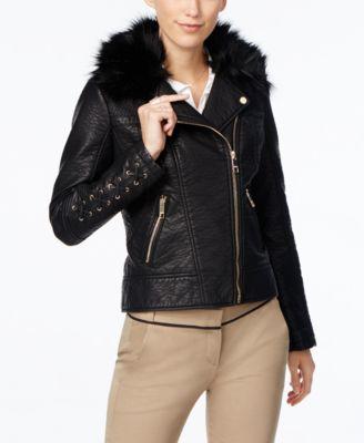 GUESS Faux-Fur-Collar Faux-Leather Moto Jacket - Coats - Women ...