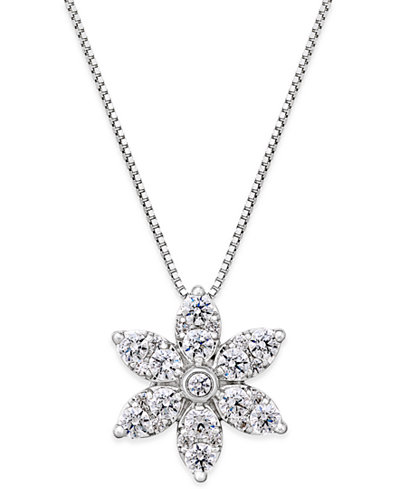 Diamond Starburst Pendant Necklace (1 ct. t.w.) in 14k White Gold