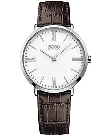 BOSS Hugo Boss Men's Jackson Brown Leather Strap Watch 40mm 1513373