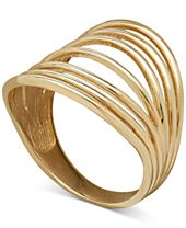 Seven Row Polished Statement Ring in 18k Gold