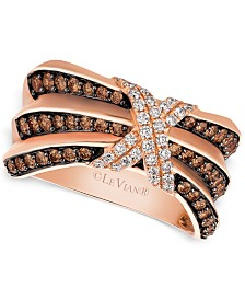 Le Vian® Chocolatier® Pleated™ Diamond X Ring (3/4 ct. t.w.) in 14k Rose Gold