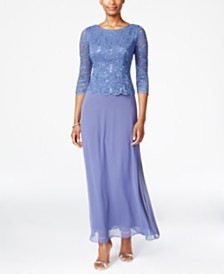 Alex Evenings Petite Three-Quarter-Sleeve Sequined Lace Gown