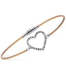 CHARRIOL Women's Laetitia White Topaz-Accent Heart Two-Tone PVD Stainless Steel Bendable Cable Bangle Bracelet