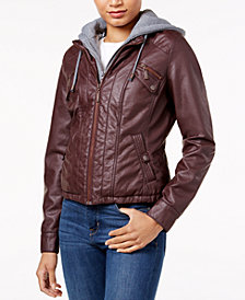 Jou Jou Juniors' Faux-Fur-Lined Faux-Leather Jacket