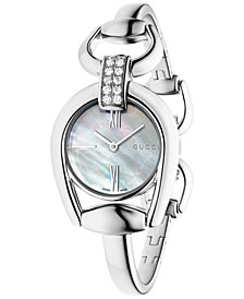 Gucci Women's Swiss Horsebit Diamond (2/5 ct. t.w.) Stainless Steel Bangle Bracelet Watch 28mm YA139504