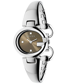 Gucci Women's Swiss Guccissima Stainless Steel Bangle Bracelet Watch 27mm YA134503