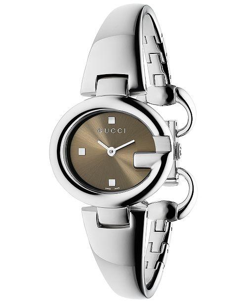 ff7461b13a1 Gucci Women s Swiss Guccissima Stainless Steel Bangle Bracelet Watch 27mm  YA134503 ...