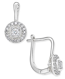 Diamond Circle Leverback Earrings (1/5 ct. t.w.) in 14k White Gold