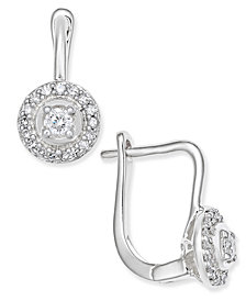 Diamond Circle Leverback Earrings (1/5 ct. t.w.) in 14k White or Yellow Gold