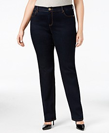 INC Petite Plus Size Tummy Control Straight-Leg Jeans, Created for Macy's