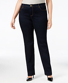 I.N.C. Plus Size Tummy Control Straight-Leg Jeans, Created for Macy's