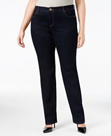 I.N.C. Plus & Petite Plus Size Tummy Control Straight-Leg Jeans, Created for Macy's