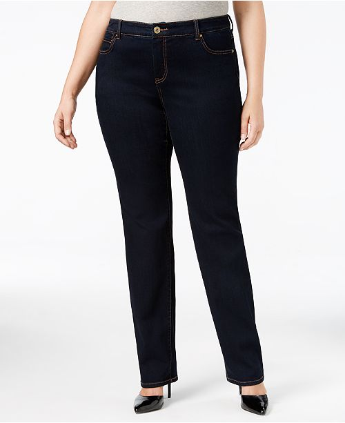 INC International Concepts I.N.C. Plus & Petite Plus Size Tummy Control Straight-Leg Jeans, Created for Macy's