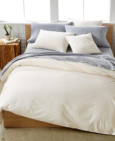 CLOSEOUT! Calvin Klein Washed Essentials Cream Bedding Collection