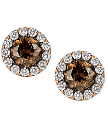 Le Vian® Chocolatier Diamond Halo Stud Earrings (1-5/8 ct. t.w.) in 14k Rose Gold