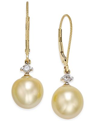 Cultured Baroque Golden South Sea Pearl (9mm) and Diamond (1/6 ct. t.w.) Drop Earrings in 14k Gold