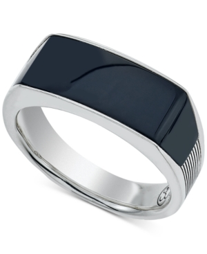 Esquire Men's Jewelry Onyx (24 x 8 x 3mm) Ring in Sterling Silver, Created for Macy's