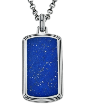 Esquire Men's Jewelry Lapis Lazuli (29 x 14mm) Tag Pendant Necklace, Created for Macy's