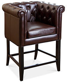 Norine Tufted Leather Bar Stool, Quick Ship