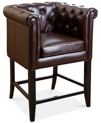 Norine Tufted Leather Bar Stool Quick Ship Furniture