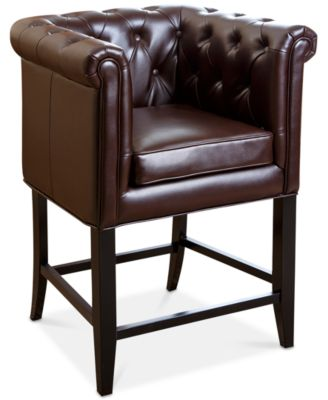 Perfect Image 1 Of Norine Tufted Leather Bar Stool, Quick Ship