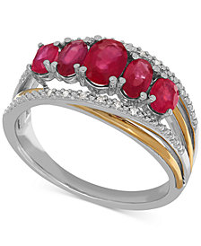 Ruby (1-3/4 ct. t.w.) and Diamond Accent Ring in Sterling Silver and 14k Gold