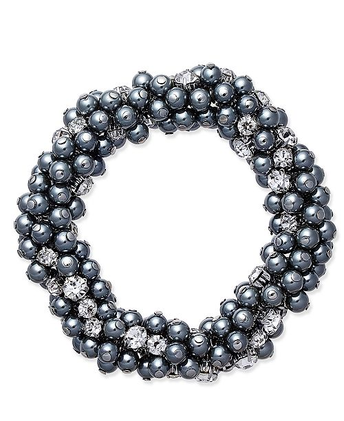 Charter Club Silver-Tone Gray Imitation Pearl and Crystal Cluster Stretch Bracelet, Created for Macy's