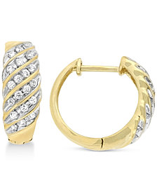 Wrapped in Love Diamond Channel Hoop Earrings (1/2 ct. t.w.) in 10k Gold, Created for Macy's
