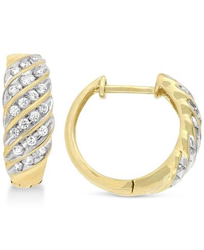 Wrapped in Love Diamond Channel Hoop Earrings (1/2 ct. t.w.) in 10k Gold, Created for Macy's