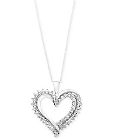 Diamond Heart Pendant  Necklace (1/2 ct. t.w.) in 10k Gold or White Gold