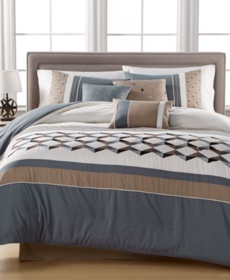 closeout beckett embroidered 7pc comforter set created for macyu0027s