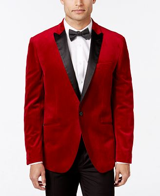 Bar III Men's Slim-Fit Red Velvet Sport Coat, Created for Macy's ...