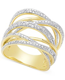 Diamond Orbital Ring (1/4 ct. t.w.) in Sterling Silver or 18k Rose or Yellow Gold-Plated Sterling Silver