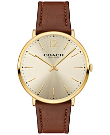 COACH Men's Slim Easton Brown Leather Strap Watch 40mm 14602111