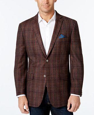 Tallia Men's Burgundy Plaid Sport Coat - Blazers & Sport Coats ...