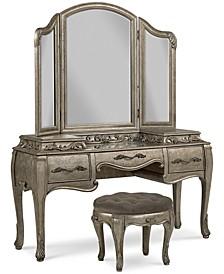 Zarina 3-Pc. Vanity Set (Vanity, Vanity Stool & Vanity Mirror)