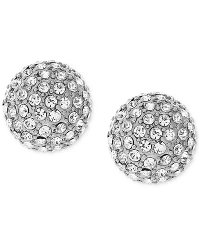 Vince Camuto Silver-Tone Pav� Ball and Metallic Pyramid Reversible Front and Back Earrings