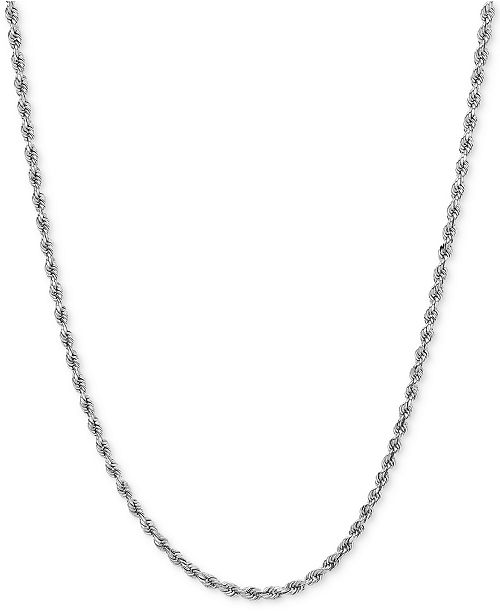 Macy's Polished Rope (1-3/4mm) Chain Necklace in 14k White Gold